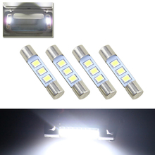 "Lot4 White 29MM 1.15"" 6614F 6614 T6 F30-WHP TS-14V1P Fuse Style 3-SMD 2835 Led Replace Bulb For Car Vanity Mirror Visor Lights(China)"