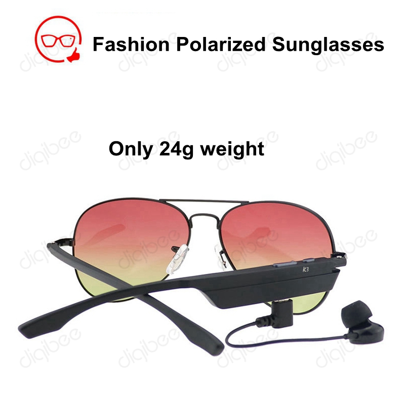 Smart Glasses Polarized Sunglasses with Bluetooth Headset Microphone Voice Prompt for Samsung iPhone HTC LG Xiaomi