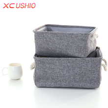 Linen Fabric Clothes Storage Box with Handle Folding Laundry Toy Storage Basket Closet Organizer Household Sundries Sorting Box(China)