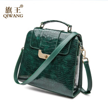 QIWANG Real Genuine Patent Leather Women Handbag Authentic High Quality Leather Shoulder Bags Elegant Ladies Green Bag(China)