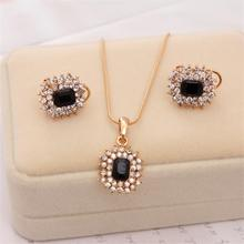 MINHIN Golden Plated Chain Necklace For Women Luxury Wedding Rhinestone Jewelry Set Bridal Necklace/ Earrings Gem Pendant Set