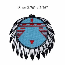 "Native american embroidery patch 2.76"" wide / Feather/glue on back/ornament"