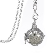 Skyrim Fashion Glowing Ball inside Magic Necklace Hollow Leaf Locket Cage Essential Oil Diffuser Steampunk Necklace