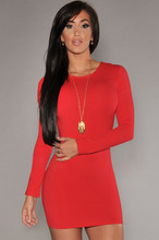 Back zipper women long sleeve O-neck mini solid red classic fitted sexy & club summer nice and cool ventilate dresses MC5077