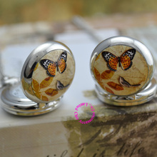 wholesale pocket watch necklace good quality silver fashion fob watches mirror sketch drawing butterfly bird hour antibrittle(China)