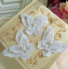 20 Pcs Embroidery 2Layers Wedding Dress Decorative Lace Fabric Applique 6.5*5.5cm Pretty Organza Butterfly Lace Patch With Pearl