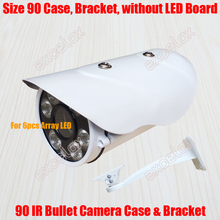 Waterproof IR Bullet Camera Case & Bracket Size 90mm Aluminum Alloy IP66 Outdoor Camera Casing Housing for 6x Array IR LED Board