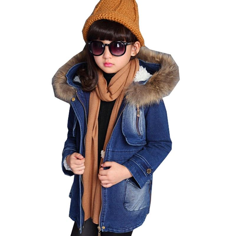 Girls Clothing 2016 Spring Autumn Fashion Baby Kids Jackets Long Sleeve Hooded Girls Denim Jean Coat<br>