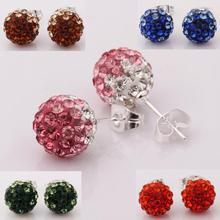 2016 gradual change  women silver plated earring small ball fashion jewelry studs crystal beads shamballa earrings