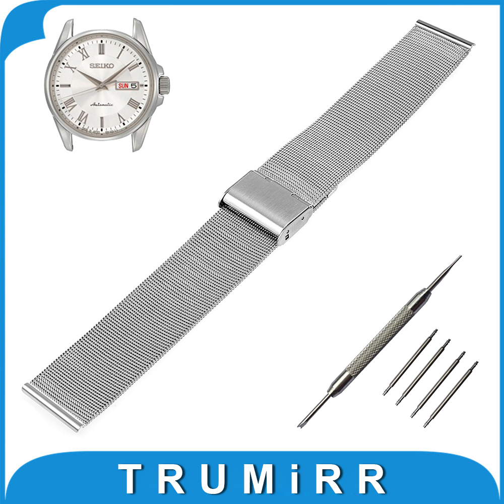 18mm 20mm 22mm Milanese Watchband for Seiko Watch Band Mesh Stainless Steel Strap Link Bracelet +Tool Black Rose Gold Silver<br><br>Aliexpress