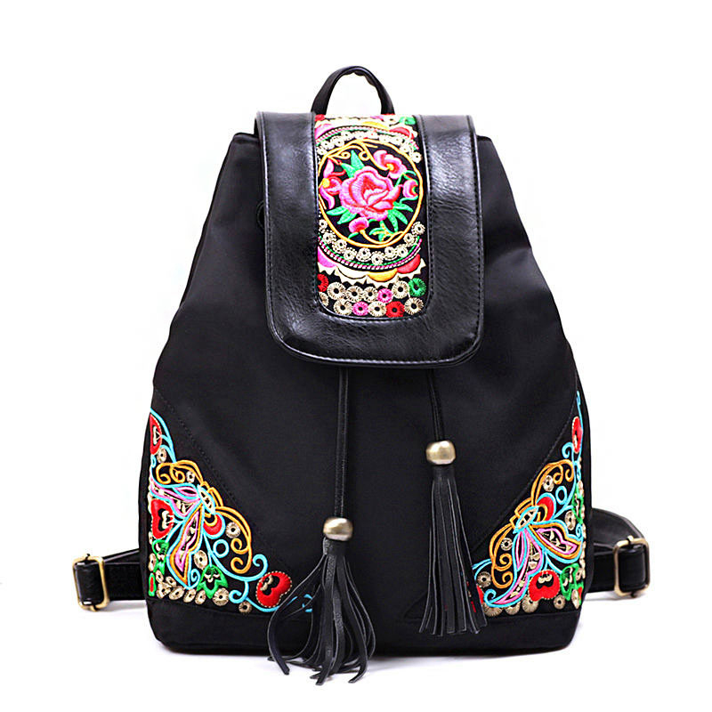 Women Embroidered Backpacks Female Backpacks Waterproof Nylon Beach Bag Ladies luxury Tote Bag Ladies Purse Mujeres Mochila<br>