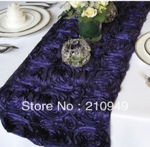 free shipping 10 pcs navy blue table runner shiny satin ribbon rose table runner 108 inch for wedding party banquet decoration