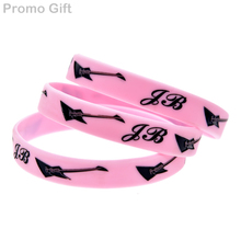 Promo Gift 50PCS/Lot Justin Bieber with Guitar Silicone Wristband for Music Concert(China)