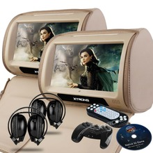 "XTRONS One pair Beige Car Headrest DVD Player 9"" Touch Screen USB Game IR Headset(China)"