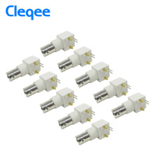 Cleqee P7003 10pcs BNC RF connectors BNC female nut bulkhead right angle PCB mount RF connector 10pcs/lot Dropshipping