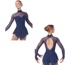 Ms backless long sleeve lace figure skating clothing manufacturers supply customized comfortable breathable performance A-1126