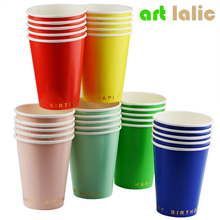 8pcs cups colorful birthday party decoration disposable paper cup printing round gold foil cup party supplies CP072