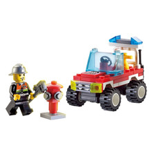 New Arrival 62pcs/set Small Size Fire Fighting Truck Model Building Blocks Kit Educational Toys Kids Birthday Gifts