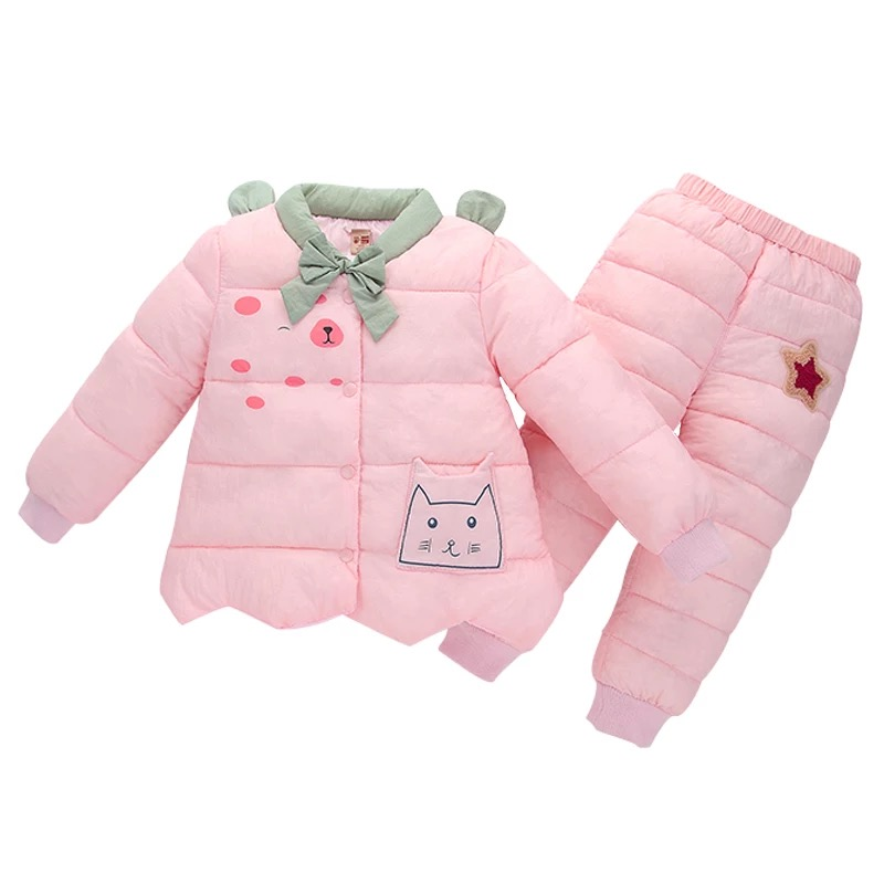 Russian winter boys girls down jacket pant sets <br>