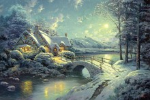 Christmas Moonlight by Thomas Kinkade oil painting poster fabric canvas wall poster print