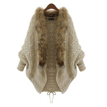 Women Winter Cardigan Thick Poncho Capes Pull Femme Autumn Brand Fashion Knitted Fur Collar Wool Sweater Jacket Bat Sleeve Coat