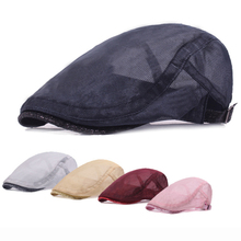 HT1189 2017 New Fashion Men Women Berets Solid Black White Pink Flat Caps Summer Breathable Mesh Ivy Caps Sequined Beret Caps(China)