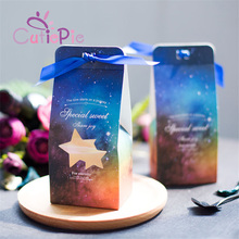 CUTIEPIE 10pcs Romantic Starry Sky Theme Gift Paper Bags for Candy Wedding Party Favor Chocolate Packaging Box Christmas(China)