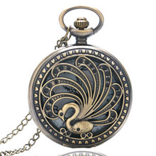 Elegant Hollow Bronze Peacock Theme Quartz Pocket Watch Luxury Women's Fob Watches with Necklace Chain for Ladies Girls(China)