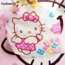 4PCS Hello Kitty Shower Cap Transparent Kawaii Lovely Waterproof Dust Cap with Elastic Band Hat for Girl Lady Women family EA(China)