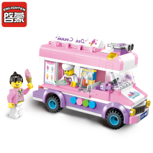 1112 Enlighten City Ice Cream Van Truck DIY Educational Compatible Blocks Bricks Christmas Gifts Toys for Girls with 2 Figures(China)