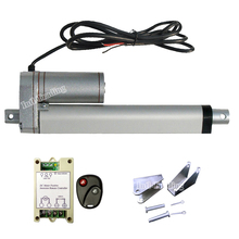 "150mm/6Inch 6"" Stroke Linear Actuator 1500N/330lbs Load DC 12Volt Motor &Wireless Remote Controller & Mounting Brackets(China)"