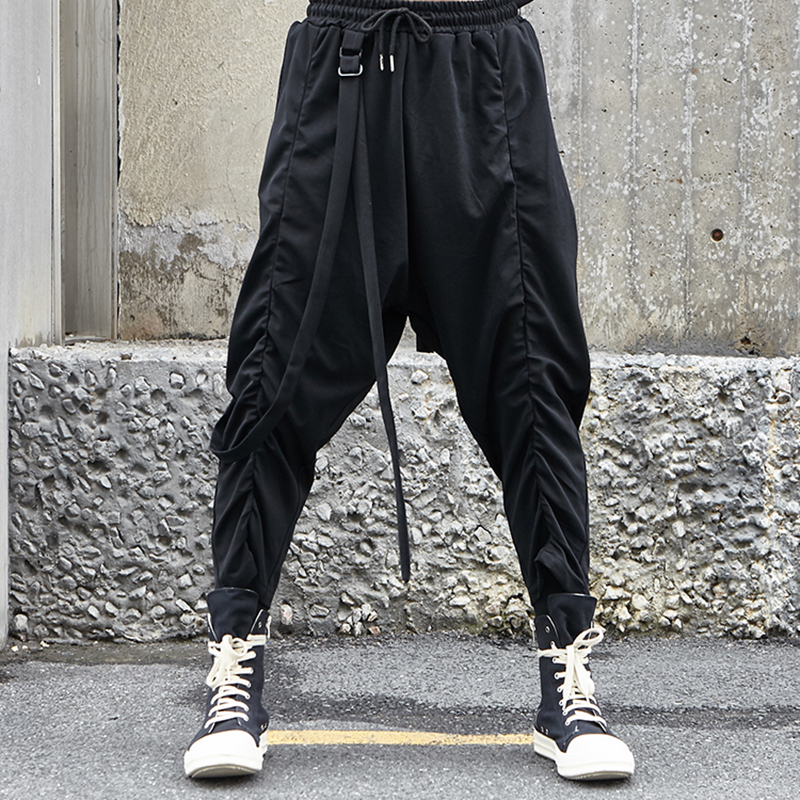 Men Fashion Gothic Harem Pants Japan Streetwear Hip Hop Casual Trousers Male Ribbons Loose Cross Pant Stage Show Costumes