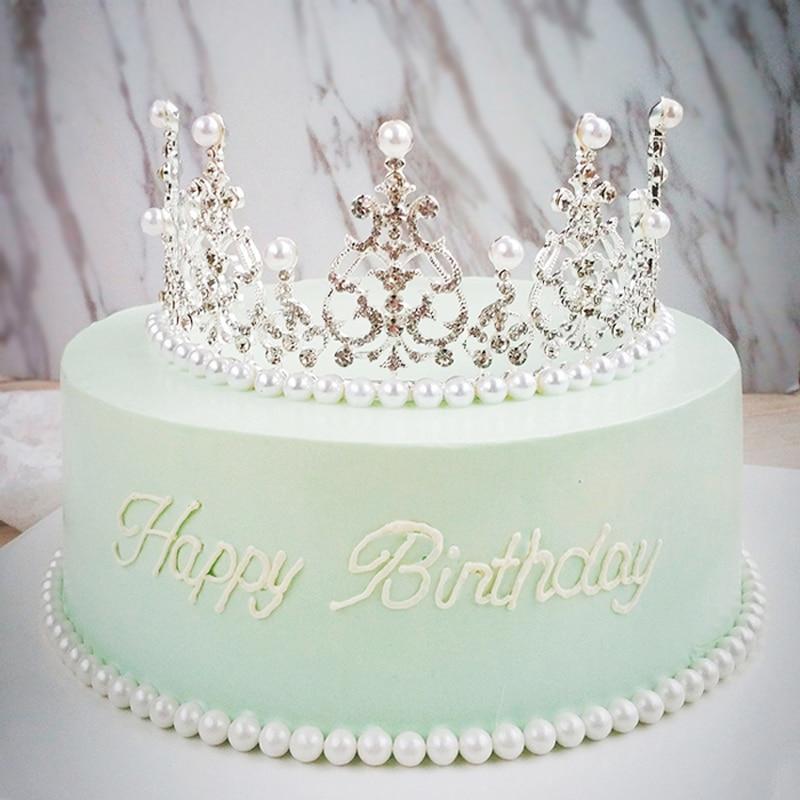 Princess Tiara Crown Silver Glitter Acrylic Brithday Cake Topper