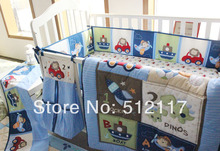 hot sell 2014 New Blue Cars Airplan Boy Baby Crib Cot Bedding Set 5 items Including Comforter Bumper Fitted Sheet(China)
