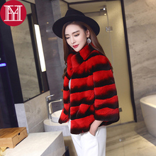2017 new style women real natural rex rabbit fur coat high quality 100% genuine rex rabbit fur chinchilla color winter jacket