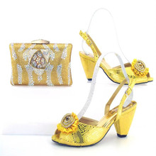 TYS17-92 Latest Design Yellow African Rhinestone Wedding High Heel Shoes And Bag For Sale Free Shipping