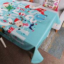 Merry Christmas Santa Claus Holiday Linen Family Gathering Coffee Tea Table Cover Tablecloth