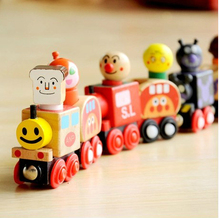 Creative 1 set Japanese Anpanman wooden magnetic pull train funny blocks children interesting educational toys baby gift(China)