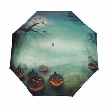 Auto Umbrella For Halloween Pumpkin 3 Fold Umbrella Anti UV Protection Evil Pumpkin Face Ombrelle Monster Sombrillas Para El Sol