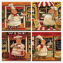free shipping cartoon figure chef food bread set oil painting canvas painting prints on canvas cafe wall art decoration pictures(China)