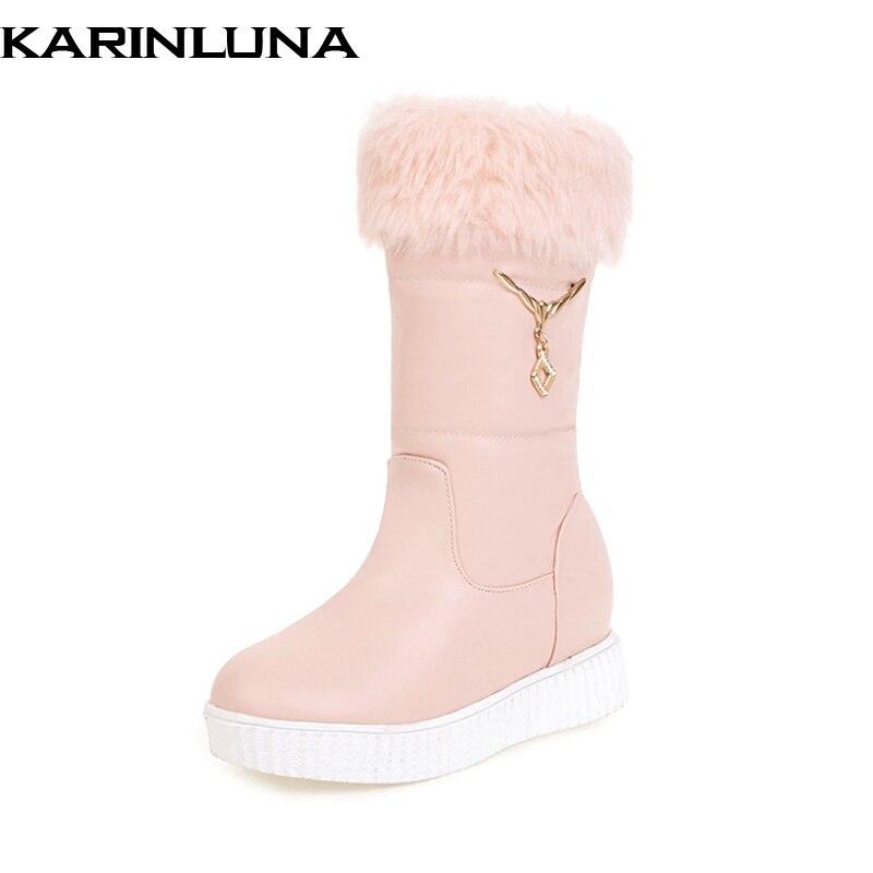 KARINLUNA 2018 New Fashion BIG Size 34-43 women Shoes SNOW boots  flat heels comfortable warm winter boot shoes woman<br>