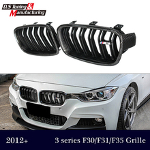 Genuine carbon fiber 3 series f30 f31 f35 grill dual slat gloss / matte black grille for bmw 3 series 318i 320i 328i  330i 335i