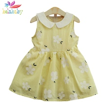 Belababy Summer Fashion Girls Dress 2017 New Cute Floral Printing Peter Pan Collar Children Clothes Casual Beach Girl Dresses