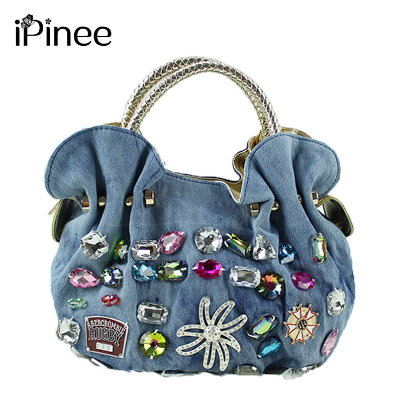 iPinee New Women Denim Bags Sweet Blue Pattern High Quality Handbags With Diamond Ladies Tote Bag Messenger Bags<br>
