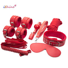 7pcs/set Sexy Lingerie PU Leather SM Sex Bondage Set Sexy Costumes Handcuffs Eye Mask Collar Erotic Sex Toys For Couples(China)