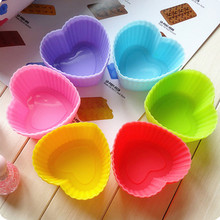 12PC Kitchen Craft Silicone Soft Heart Shape High Quality Cake Muffin Chocolate Cupcake Liner Baking Cup Mold #614(China)
