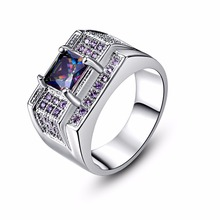 Top Quality Wedding Fashion Rings for Women Men Silver Thumb Rings Princess Cut Rainbow Purple Zirconia Stone Finger Ring Gift