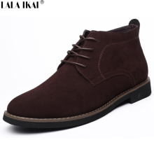 LALA IKAI Faux Suede Men Boots Spring Fashion Men Boots Lace up Mens Boots Leather Shoes XMF0027-5
