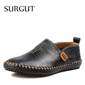SURGUT Marca Melhor Qualidade do Couro Genuíno Homens Flats Casual Shoes Preguiçosos Suaves Sapatos Confortáveis de Condução Homens Sapatos Sapatos Respirável