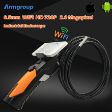 HD720P IR Handheld Wifi Endoscope Camera Monitor Waterproof Snake Car Inspection Tube Borescope Camera 2MP IOS Android Phone Cam